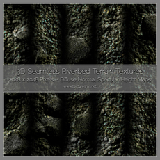 Riverbed Terrain 3D Texture Maps