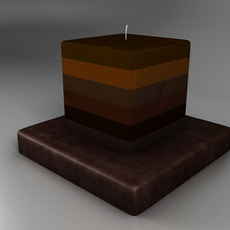 Decorative square candle - brown 3D Model