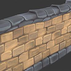 Stone Wall Segment 02 3D Model