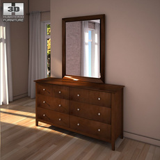 Ashley Nico Dresser & Mirror 3D Model