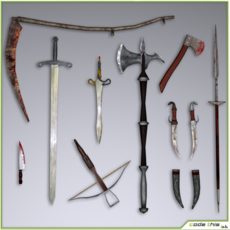 Low Poly Medieval Weapons 3D Model