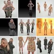 Blond Girl 3 Pack 3D Model