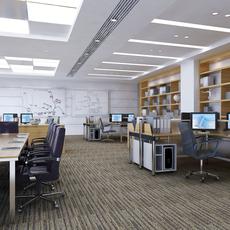 Detailed Office Interior Scene 3D Model