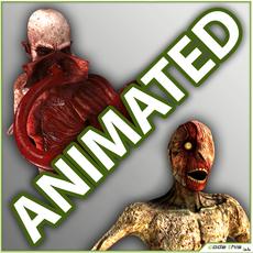 Pack Skinless Crawler and Genetic Monster 3D Model