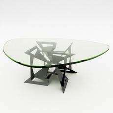 Modern Design Base Glass Coffee Table 3D Model