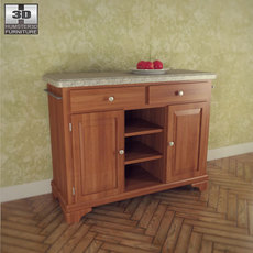 Buffet with Gray Granite Top in Oak - Home Styles 3D Model