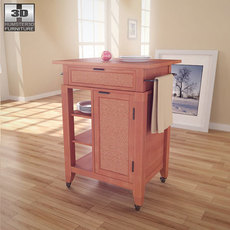 Jamaican Bay Small Kitchen Cart in Soft Mahogany - Home Styles 3D Model