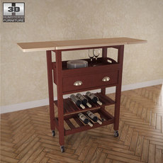 "Julia ""Espresso"" Kitchen Cart - Powell Furniture 3D Model"