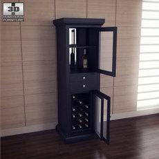 Meridian Wine Curio in Espresso - Classic Flame 3D Model