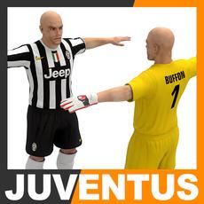 Football Player and Goalkeeper - Juventus FC 3D Model