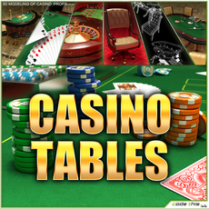 Casino Tables (Roulette Poker Blackjack) 3D Model