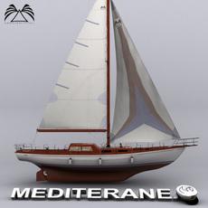Sailboat Mediteranea 46 3D Model