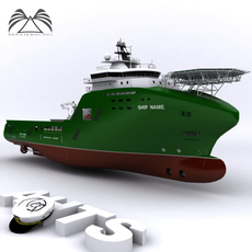 Anchor Handling Tug Supply 02 3D Model