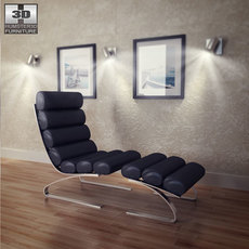 Occasional Chaise and Ottoman 3D Model