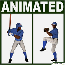 Black Baseball Players (batter and pitcher) 3D Model