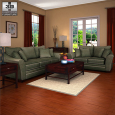 Ashley Durapella Basketweave - Living Room Set 3D Model