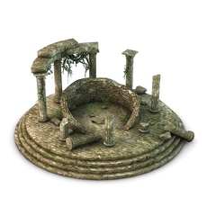 Ancient Temple Ruins with vines 3D Model