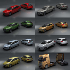 15 City cars models 3D Model