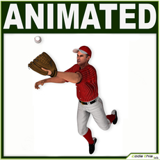 White Baseball Player Hi-poly (OUTFIELDER) 3D Model