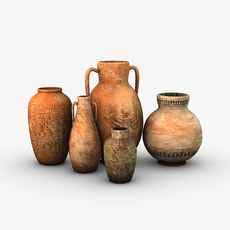 Low poly egyptian vases 3D Model