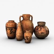 Low poly greek vases 3D Model