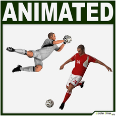 White Soccer Player and White Goalkeeper (Hi-Poly) 3D Model
