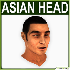 Low Poly Asian Male Head 3D Model