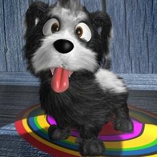Cartoon Little Dog Rigged 3D Model