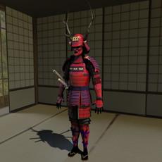 Samurai Armor Red ( Sanada ) 3D Model