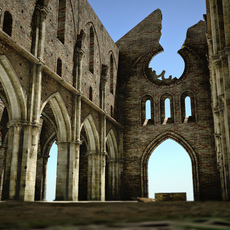 Roofless cathedral San Galgano ruin 3D Model