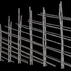 old wooden fence 3D Model