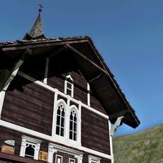 wooden mountain church schuesserlbrunn 3D Model