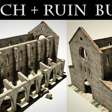 San Galgano roofless cathedral + ruin pack 3D Model