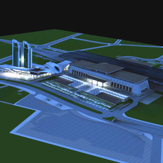 Architecture 352 Railway station Building 3D Model