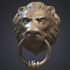 Lion Head Door Knocker 3D Model