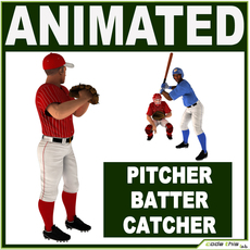 Three Baseball Players white CATCHER, black BATTER and White PITCHER 3D Model