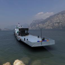 inland river transport barge 3D Model