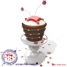 Stars and hearts cupcake 3D Model