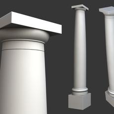 Vitruvius Tuscan Roman order column with pedestal high low poly 3D Model