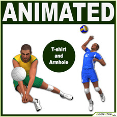 2 White Volleyball Players CG 3D Model