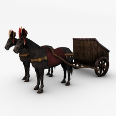 Horse with chariot 3D Model
