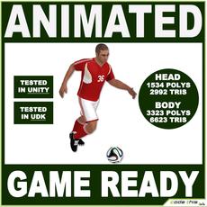 White Soccer Player 9615 tris 3D Model
