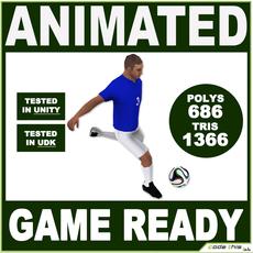 White Soccer Player 1366tris 3D Model