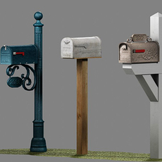 US Mailboxes Pack - Low Poly 3D Model