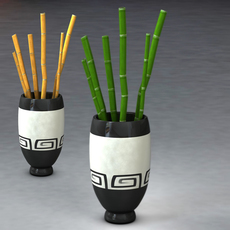 Bamboo and vase 3D Model