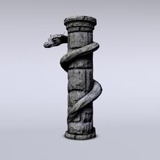 Serpent stone column 3D Model
