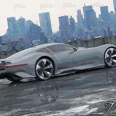Mercedes Vision GT + Environment 3D Model