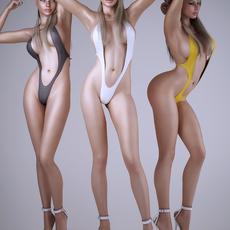 Realistic blonde sexy woman wearing 1 piece sexy bikini - 3 poses 3D Model