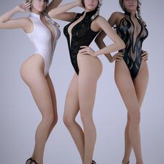 Realistic blonde sexy woman wearing 1 piece bikini - 3 poses, 3 bikinis 3D Model