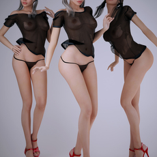 Realistic white haired and blonde sexy woman wearing mesh top - 3 poses 3D Model